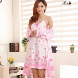 spring and autumn female robe two sets of sexy sling home gown suit
