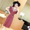 5183 casual V-neck spell color tail cut knitted long dress
