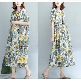 3512-1 art large size women's cotton and linen dress