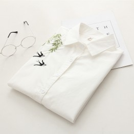 6904 long sleeve slim  sweet embroidered temperament ladies shirt