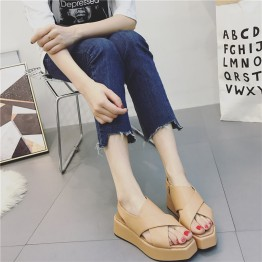 Side zipper thick wedge hell sandals