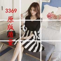 3369 V-neck lotus leaf sleeve splicing striped knit waist dress