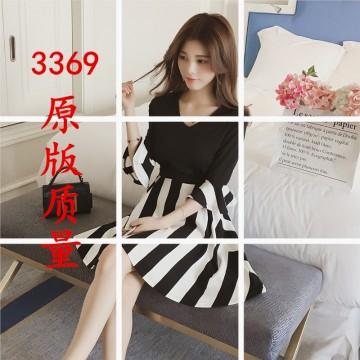 2017 summer new Korean version of the V-neck lotus leaf sleeve stitching striped knit waist dress dress female