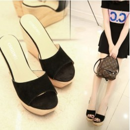 Summer Korean fashion suede platform high-heeled slipper