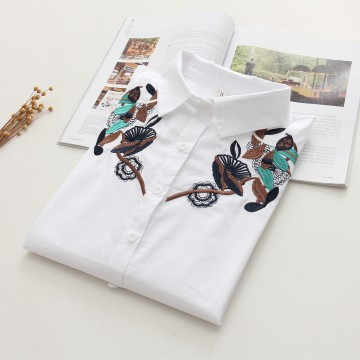 6899 # 2017 Fall new Korean version of the loose long sleeves lotus flowers embroidered students wild cotton shirt