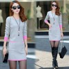 Real shot 2017 autumn and winter fashion stripes loose dress women long section sweater sweater skirt 9189