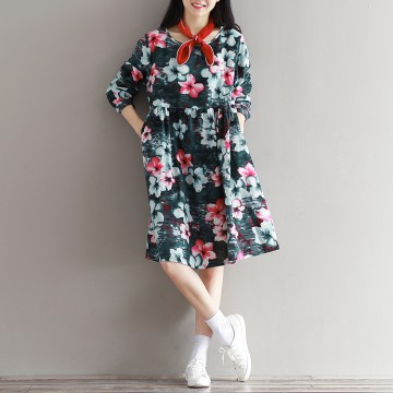【Real shot】 spot autumn new art retro cotton and linen long-sleeved printing Sen series dress 0905