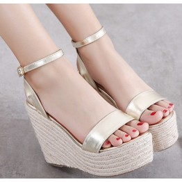 Summer new hemp rope at the end of the word buckle with thick high-heeled slope with sandals gold silver sandals waterproof platform