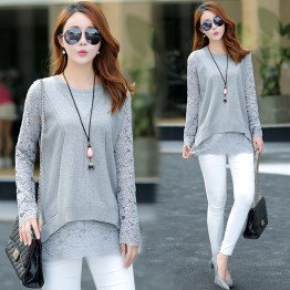 5540 large size loose fake two piece lace splicing sweater