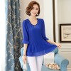 9323 # real shot autumn Korean Slim was thin short sleeve pendulum stretch chiffon shirt female long section of small shirt