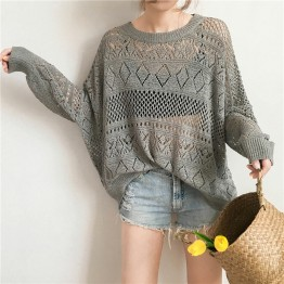 988 ulzzang retro loose lantern sleeves knitted sunscreen shirt