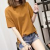 7338 # real shot summer big embroidery short-sleeved t-shirt female loose wild simple cotton students open fork clothes