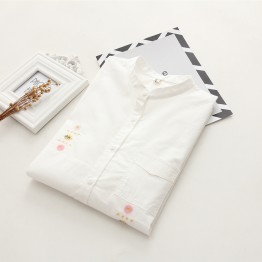 6906 stand collar embroidery pocket shirt