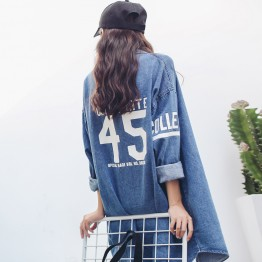 8722 windbreaker letter print long sleeve denim jacket