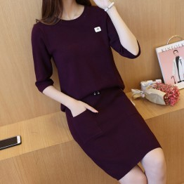 723 fashion sweater shirt with lacing waist skirt