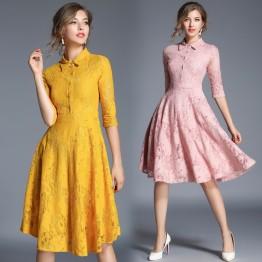 8076  elegant temperament slim dress