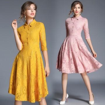Real shot spot 8076 # autumn new big lace dress lace elegant temperament Slim dress