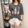3935 real shot summer new striped short-sleeved t-shirt female students Korean version of large size women fat mm200 pounds