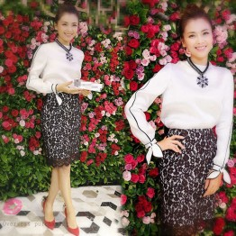 930 contract color round neckline lacing long-sleeved shirt with lace tight hip skirt