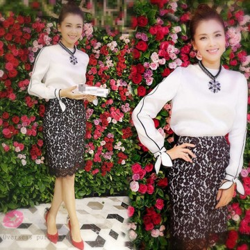 New autumn and winter hit the color of the round neckline with long-sleeved shirt + package buttocks lace skirt suit 930