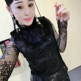 9615 European fashion black lace shirt long sleeve bottom shirt real rabbit hair