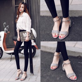 Korean rough open toe buckle sandals