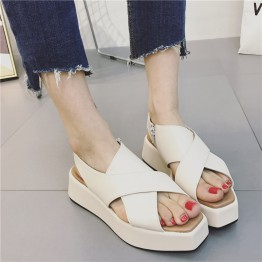 17 new summer with fish mouth sandals side zipper thick bottom shoes British wind muffled with Roman shoes