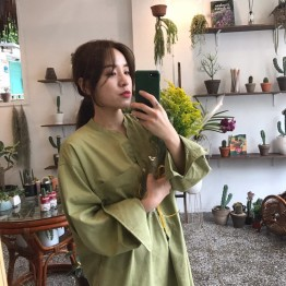 2073 kiwi green pockets loose long shirt dress