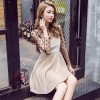 (Real shot) new summer ladies temperament wave point net yarn tapping shirt harness velvet dress two sets of 7096