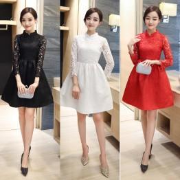 1065 stand collar nine sleeves improved cheongsam dress