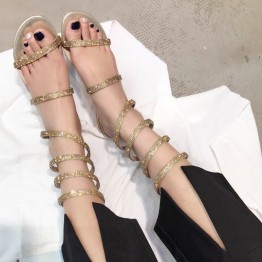 Diamond sandals snake-style low-heeled shoes