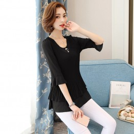 9323 short sleeve drape chiffon shirt