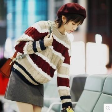 Women's head loose students twist stripes sweater