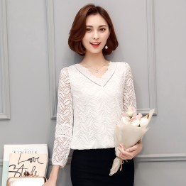 1705 Slim long sleeve V-neck fashion loose waist shirt