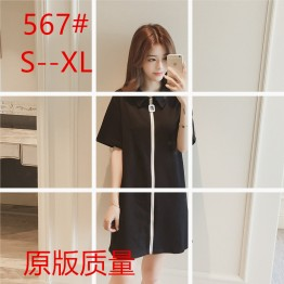 2017 summer Korean fashion POLO collar zipper loose straight  black dress
