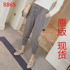 2017 spring new Korean version of the loose solid color nine points Harlan pants high waist pull rope loose waist casual pants female tide