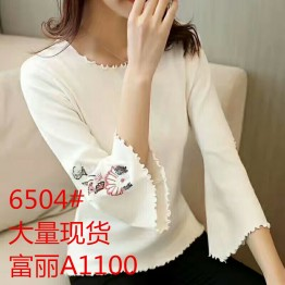 6504  Embroidered pullover Knit Sweater