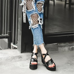 Summer platform cross strap Japanese lovely bowknot muffled toe sandals