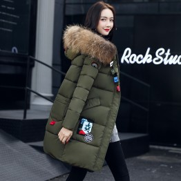 Real shot 2017 autumn and winter new Korean casual long section Slim was thin fashion down jacket female cotton jacket