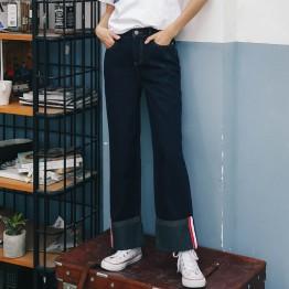 3342 preppy style leisure sports curling jeans women wide leg pants