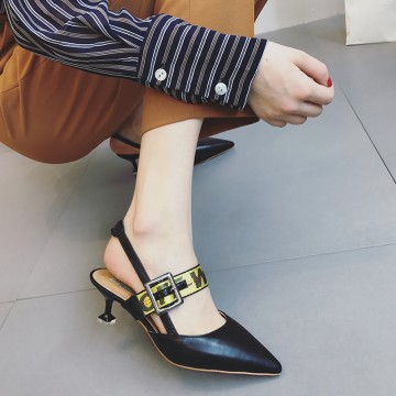 Baotou sandals female summer 2017 new tip in the college with wild Korean black sexy fine with shallow mouth shoes