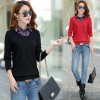 Real shot 2017 autumn and winter new large fake two sets of sweaters women 's shirt shirt sweater women 5534