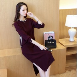 725 fashion autumn and winter long - sleeved sweater with slit up skirt