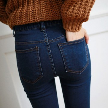 1823 Autumn high waist jeans jeans female black pencil pants students Slim thin slender stretch straight jeans