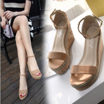 2017 summer new word matte leather slope with sandals female high heel waterproof platform beach thick bottom muffin sandals