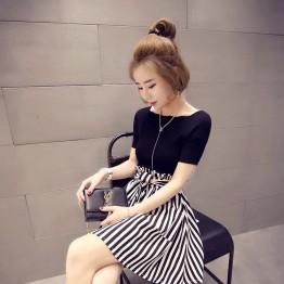 New Short Sleeve + High Waist Striped Skirt Set