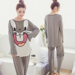 8617 large size fashion rabbit starling printing loose pajamas