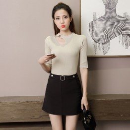 6538 A-line pocket short skirt