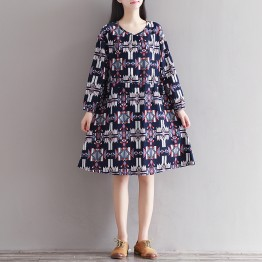 0906 literature and art retro cotton and linen nine sleeves printed silk series dress