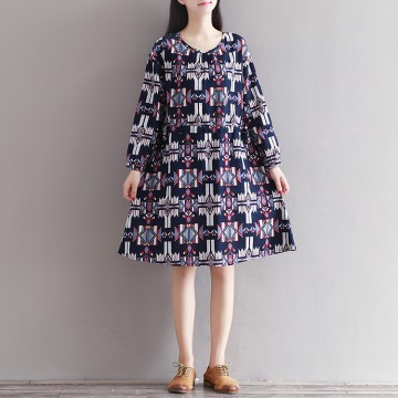 【Real shot】 spot autumn and winter new literature and art retro cotton and linen nine sleeves printed silk series dress 0906